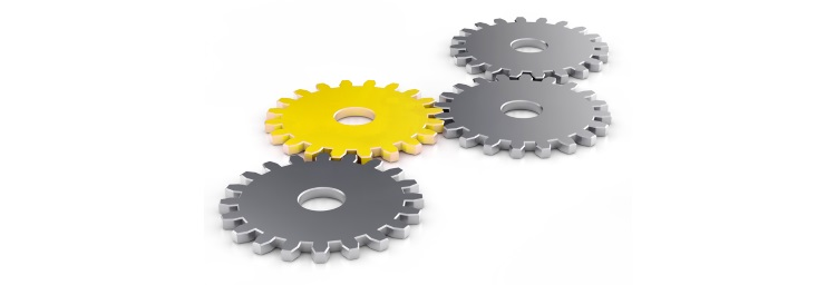 Four gears intermeshing. 3 gears are gray black, a gearwheel is yellow. With a link to the home page.
