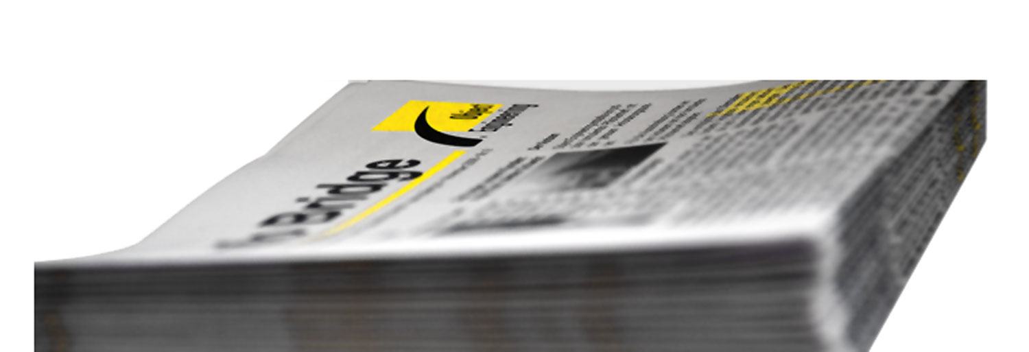 Closeup of a stack of InfoBridge. With a link to the home page.